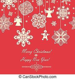 Seamless red vintage christmas card