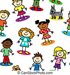 Seamless stick figure kids