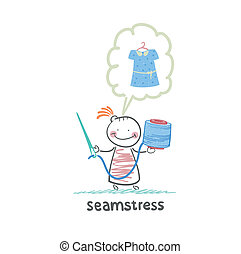 seamstress holding thread and needle and thinks about the dress