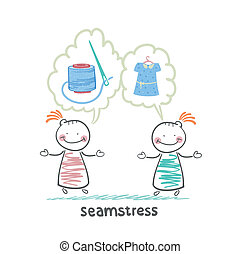 seamstress says with a client about threads, needles and dress