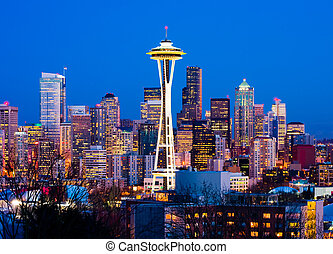 Seattle downtown at night