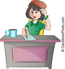 Secretary or woman Sitting at a Desk, vector illustration