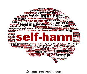 Self-harm mental health symbol isolated on white. Intentional self-injury medical icon