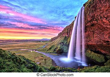 Seljalandfoss Waterfall at Sunset, Iceland