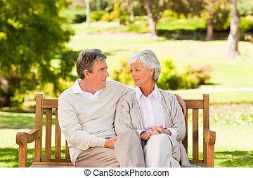 Senior couple on the bench