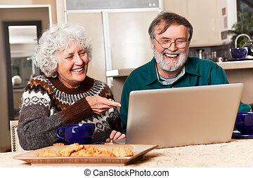 Senior couple using computer