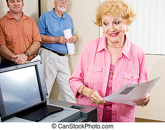 Senior Lady Voting