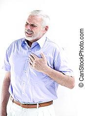 Senior man portrait heart attack