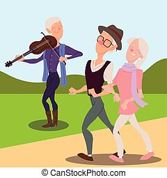 seniors active, happy old man playing violin and old couple walking