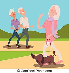 seniors active, happy old woman with dog and elderly couple walking