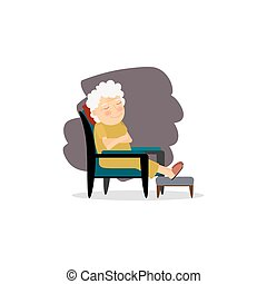 Grandmother sitting on the chair
