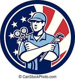 Icon retro style illustration of an American air conditioning or air-con serviceman holding manifold gauge with United States of America USA star spangled banner inside circle isolated background.