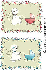 set baby arrival greeting card