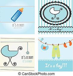Set baby boy announcement card.