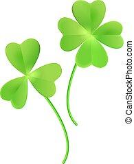Set clover shamrock and green clover leaf quatrefoil lucky isolated on white. Vector cartoon illustration