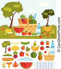 Set collections of healthy food fruits vegetable drink isolated icon. Picnic in meadow with basket food concept. Vector flat cartoon graphic design illustration