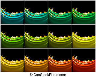 Set color curtain, silk tissue. Design element