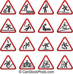 Set of three-dimensional Warning Hazard Signs