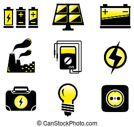 glossy set with isolated electrical equipment objects
