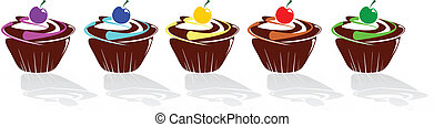Set Muffins decorated with icing