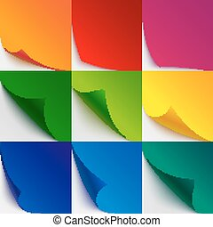 Set of 9 colorful paper curled corners and page turns with realistic shadows on white background