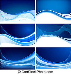 Set of abstract blue background vector