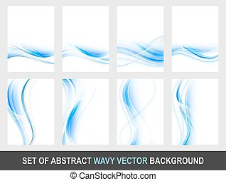 Set of abstract blue wavy vector background.