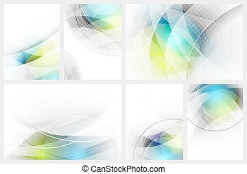 Set of abstract glowing background with space for your content.