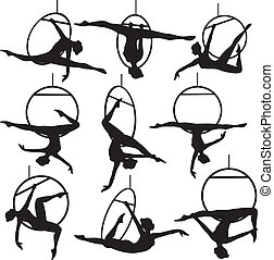 Set of aerial hoop acrobat woman silhouette