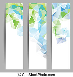 Set of banners with abstract triangles