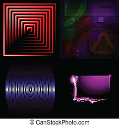 Set of Beautifully glowing neon abstract background with space for text. Vector