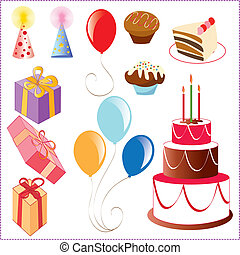 Set of birthday graphic