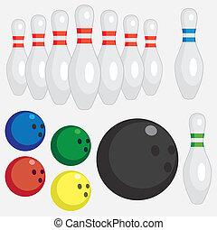 Set of bowling tools.
