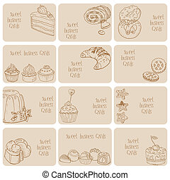Set of Business Cards - Cakes, Sweets and Desserts - hand drawn in vector
