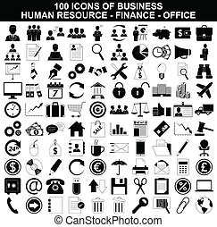 Vector illustration of Set of business, human resource, finance and office icons