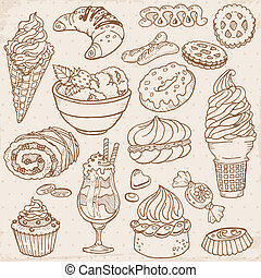 Set of Cakes, Sweets and Desserts - hand drawn in vector