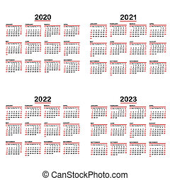 Set of calendars on white background, years 2020, 2021, 2022, 2023