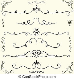 Set of calligraphic design elements and page decoration