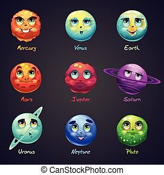 Set of cartoon, funny planets of the solar system