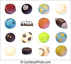Set of cartoon sport balls, vector illustration