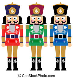 Set of nutcracker, design in three variations, no gradients, isolated on white background, full scalable vector graphic.