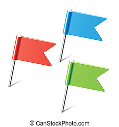 Vector illustration of set of color flag pins