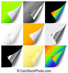 Set of colorful curled corners