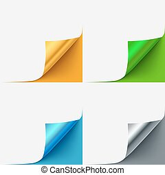 Set of colorful curled vector paper corners