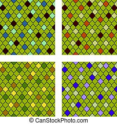 Set of colorful moroccan seamless patterns