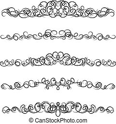 Set of curled calligraphic design elements.