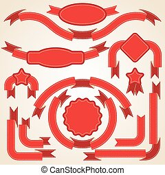 Set of curled red ribbons, vector illustration.