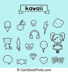 Set of decorative design elements kawaii doodles.