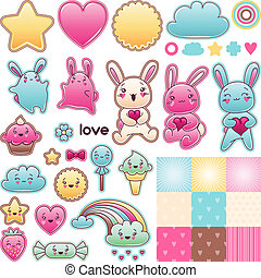 Set of decorative design elements with kawaii doodles.