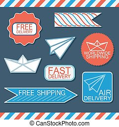Set of delivery badges and labels. Vector illustration.
